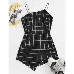 Necessary Clothing Grid Pattern V Neck Romper
